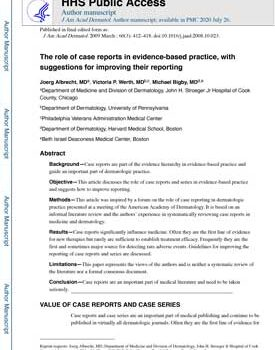 albrecht-2009-the-role-of-case-reports-in-evidence-based-practice-with-suggestions-for-improving-their-reporting-1